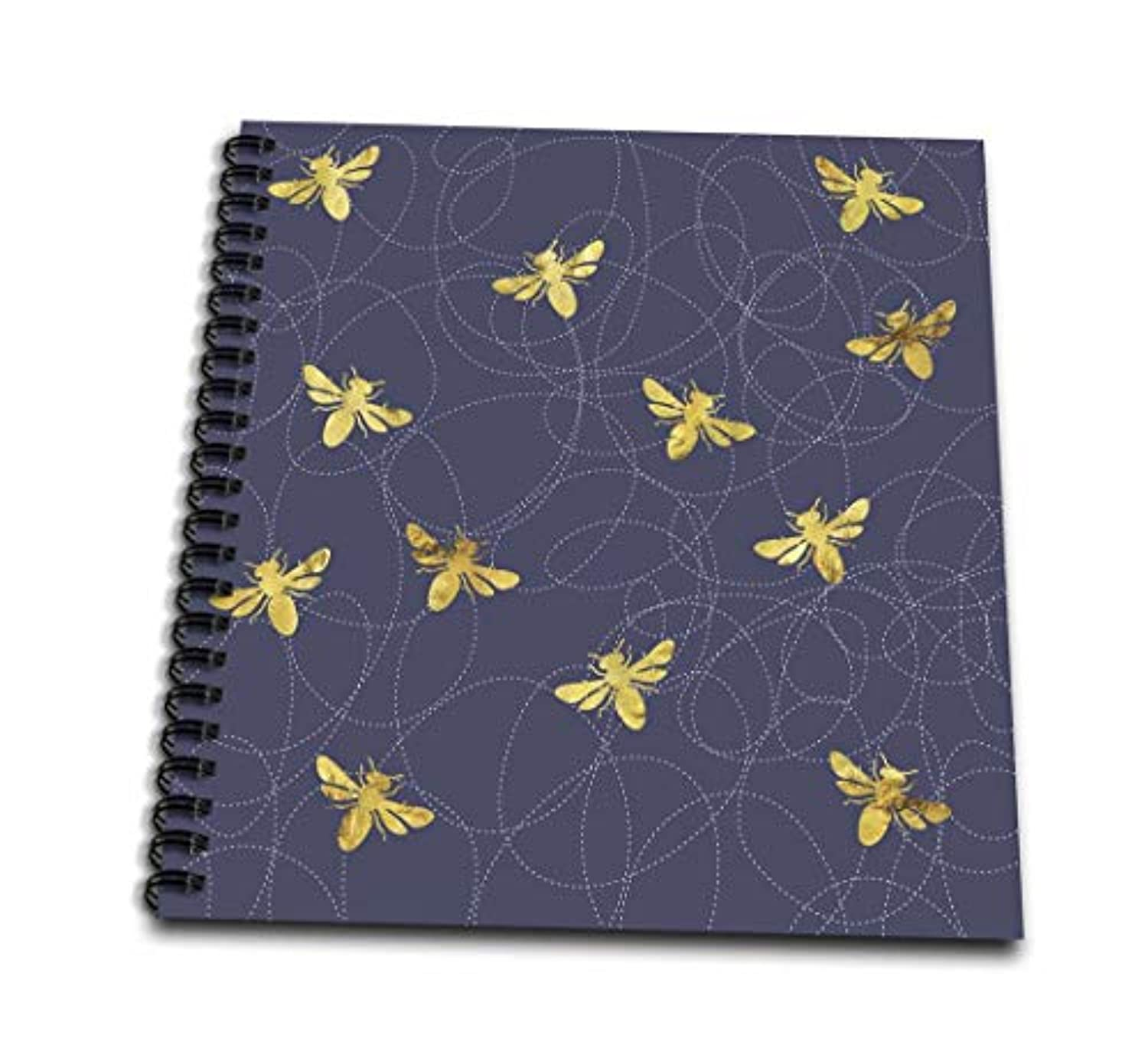 3dローズAnne Marie Baugh – パターン – GlamゴールドBees onブルーパターン – Drawing Book 4x4 notepad db_265020_3