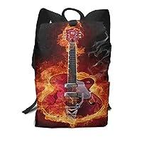 スクールバッグファイアーエレクトリックギターミュージックバックパック男性と女性のバックパック大容量学生のバックパック防水トラベルバッグ