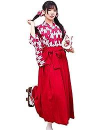 Rimocy 親子服 レディース 女の子 昭和レトロ風袴4点セット コスチューム ブラック 金魚柄 全2色 改良 着物 和服 上下浴衣セット