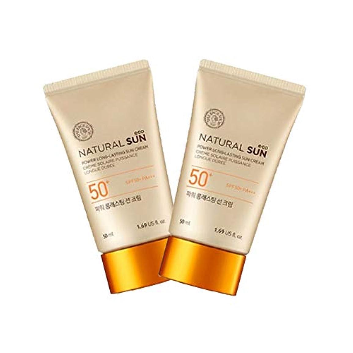 震え砂ベルザ?フェイスショップナチュラルサンエコパワーロングラスティングサンクリーム50mlx2本セット韓国コスメ、The Face Shop Natural Sun Eco Power Long Lasting Sun Cream...