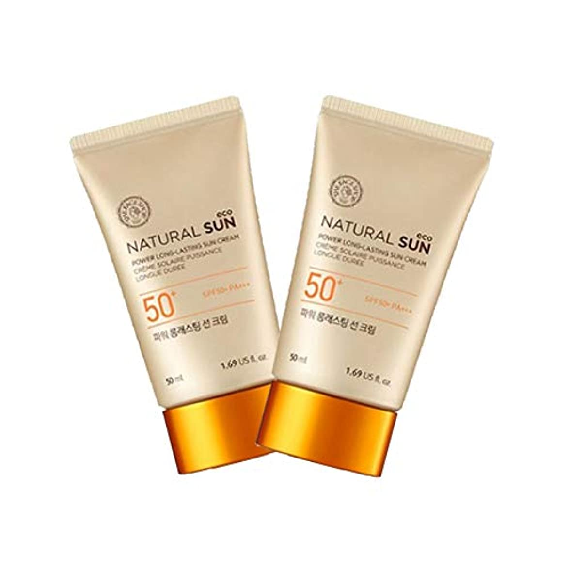 蚊収束価値のないザ?フェイスショップナチュラルサンエコパワーロングラスティングサンクリーム50mlx2本セット韓国コスメ、The Face Shop Natural Sun Eco Power Long Lasting Sun Cream...