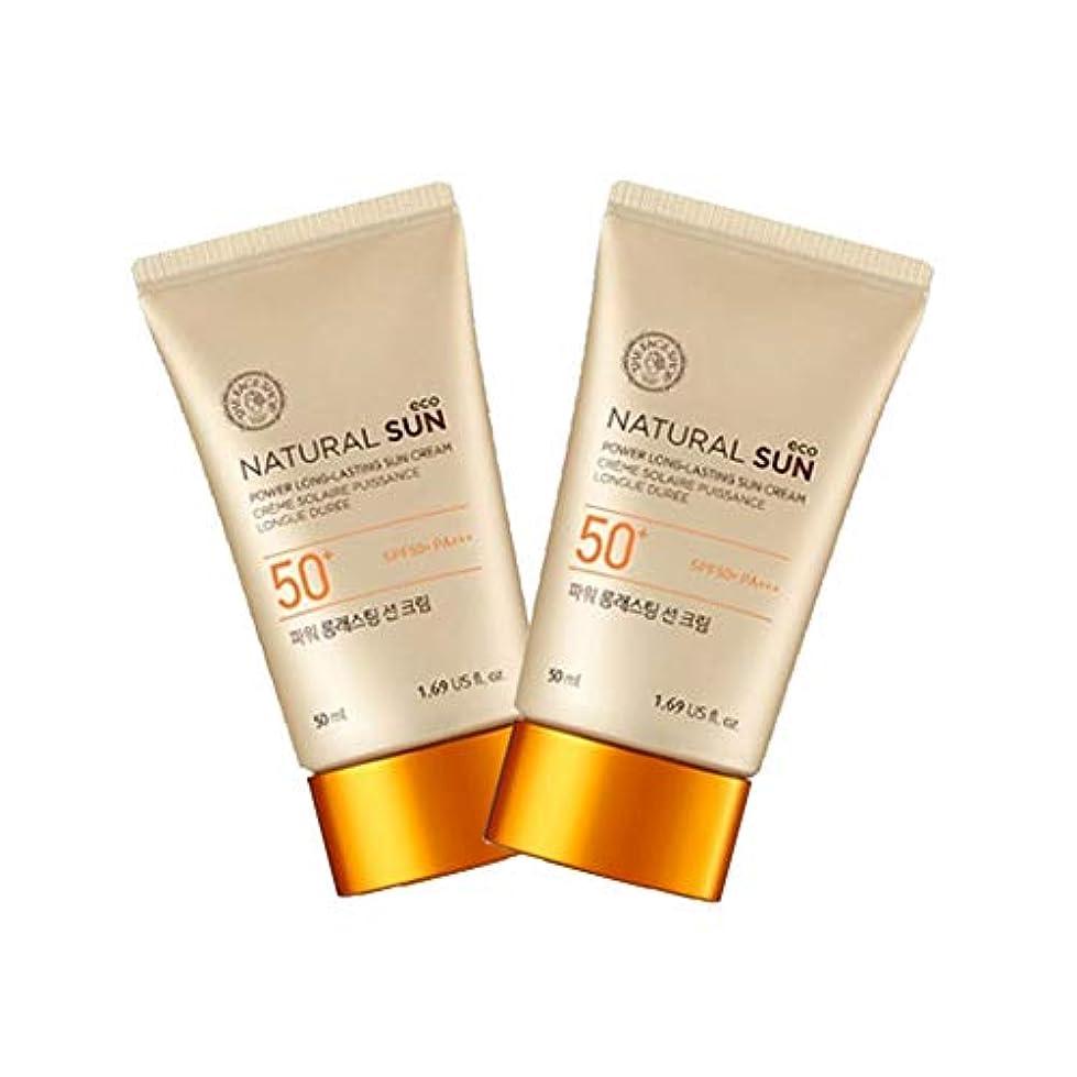 保持する補正勇者ザ?フェイスショップナチュラルサンエコパワーロングラスティングサンクリーム50mlx2本セット韓国コスメ、The Face Shop Natural Sun Eco Power Long Lasting Sun Cream...