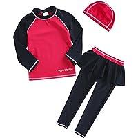 VIVO-BINIYA 正規品 子供水着 女児水着 3点セット帽子付き水着(スイムキャップ?長袖ラッシュガード?パンツ水着) UPF50+素材使用
