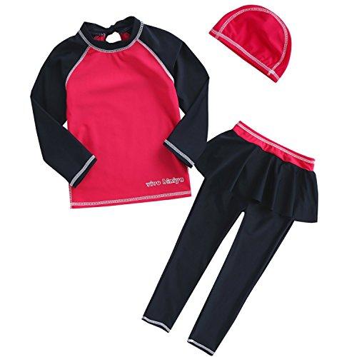 VIVO-BINIYA 正規品 子供水着 女児水着 3点セット帽子付き水着(スイムキャップ・長袖ラッシュガード・パンツ水着)UPF50+素材使用 (11T (140), ローズ)