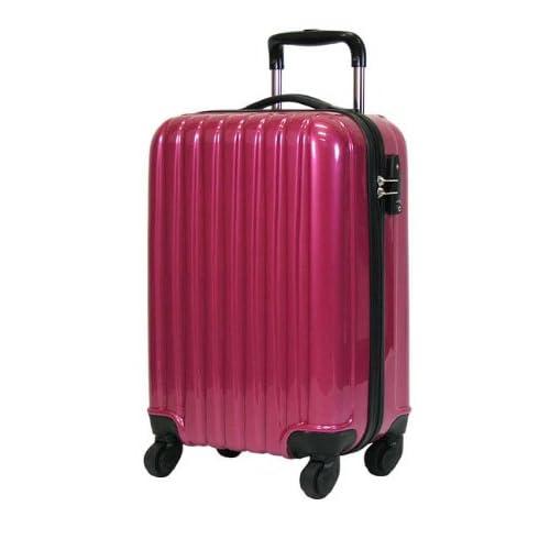 初心者さんにオススメのキャリーケース 52cm(2~3泊用) メタリックピンク ☆拡張機能付き 軽量のファスナー開閉式キャリーバッグ
