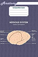 """Anatomy Composition Book: 200 Ruled Line Cream Page 6"""" X 9""""(15.24 X 22.86 CM). Notebook with a Detailed Scientific View of the Human Nervous System and a Human Ear."""