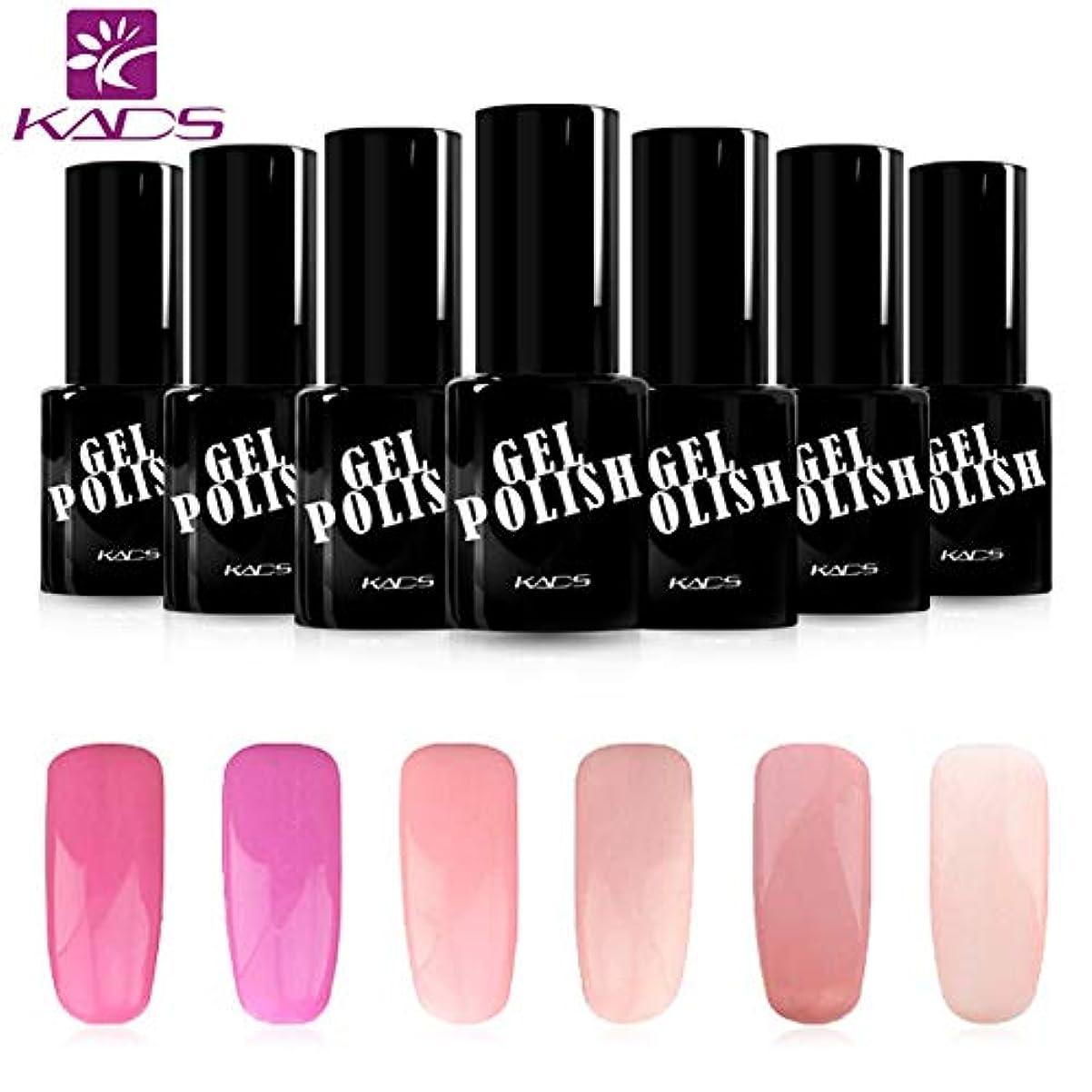 レビュー非公式旋律的KADS ジェルネイルカラーポリッシュ 6ボトルセット 桜の系 ピンク/パープル UV/LED対応 ピンク/パープル系 マニキュアセット (セット1)