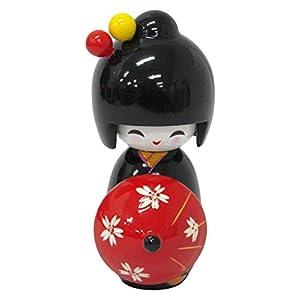 木製傘持ちこけし人形11cm(ブラック/レッド) 303-238