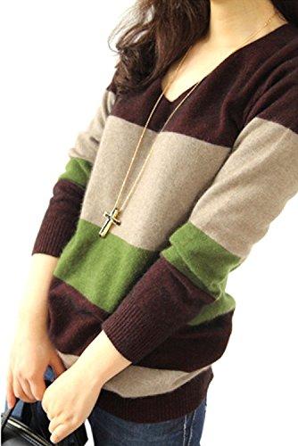 (ロンショップ)R.O.N shop レディース Vネック セーター 長袖 ニット ボーダー 切り替え 3色 大きいサイズ も 秋 冬 春 (Sサイズ)