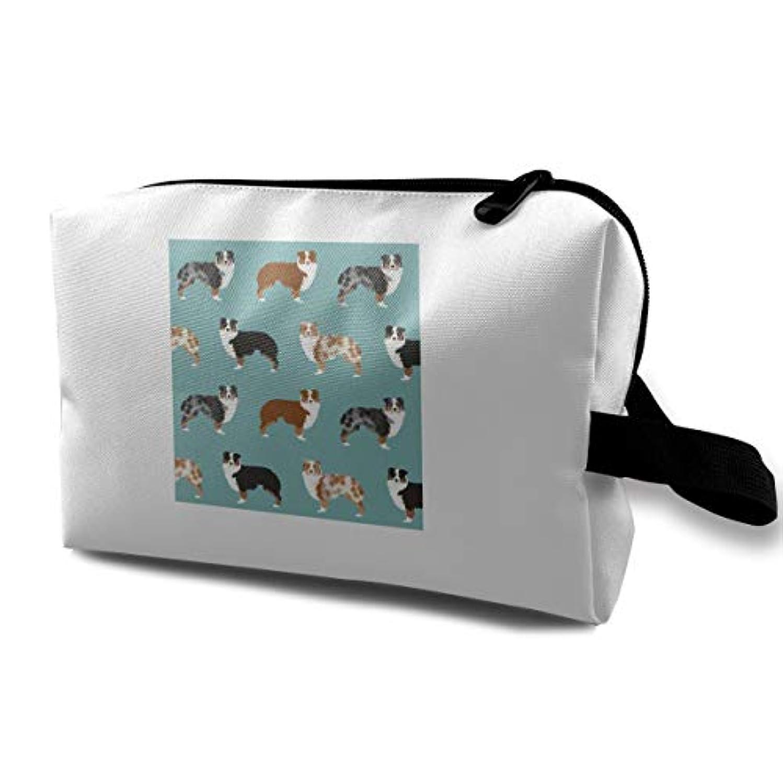 ブース講義養うAustralian Shepherds 収納ポーチ 化粧ポーチ 大容量 軽量 耐久性 ハンドル付持ち運び便利。入れ 自宅・出張・旅行・アウトドア撮影などに対応。メンズ レディース トラベルグッズ