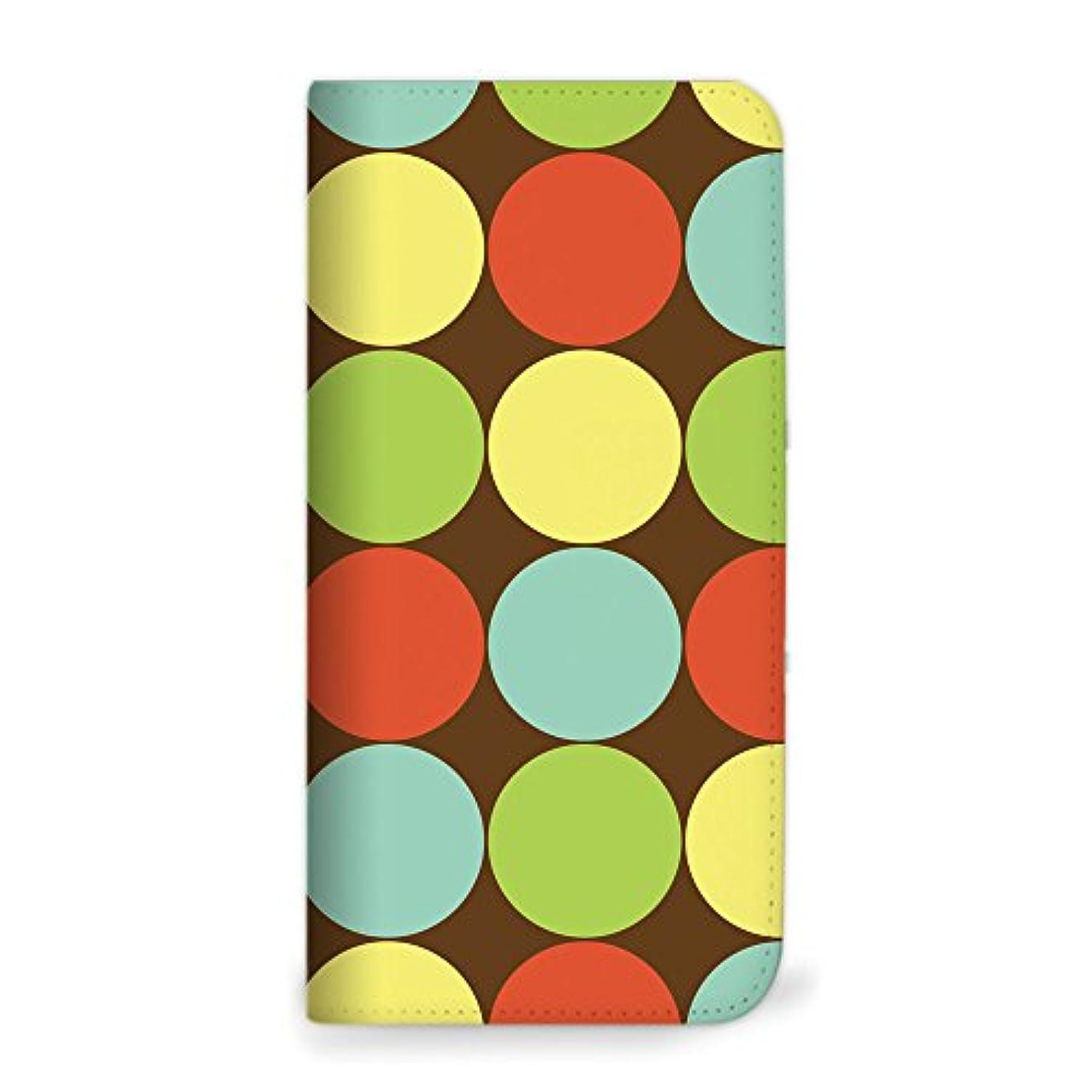 瞳地下鉄こんにちはmitas iPhone X ケース 手帳型 ベルトなし ポルカドット柄 ブラウン (352) NB-0073-BR/iPhoneX
