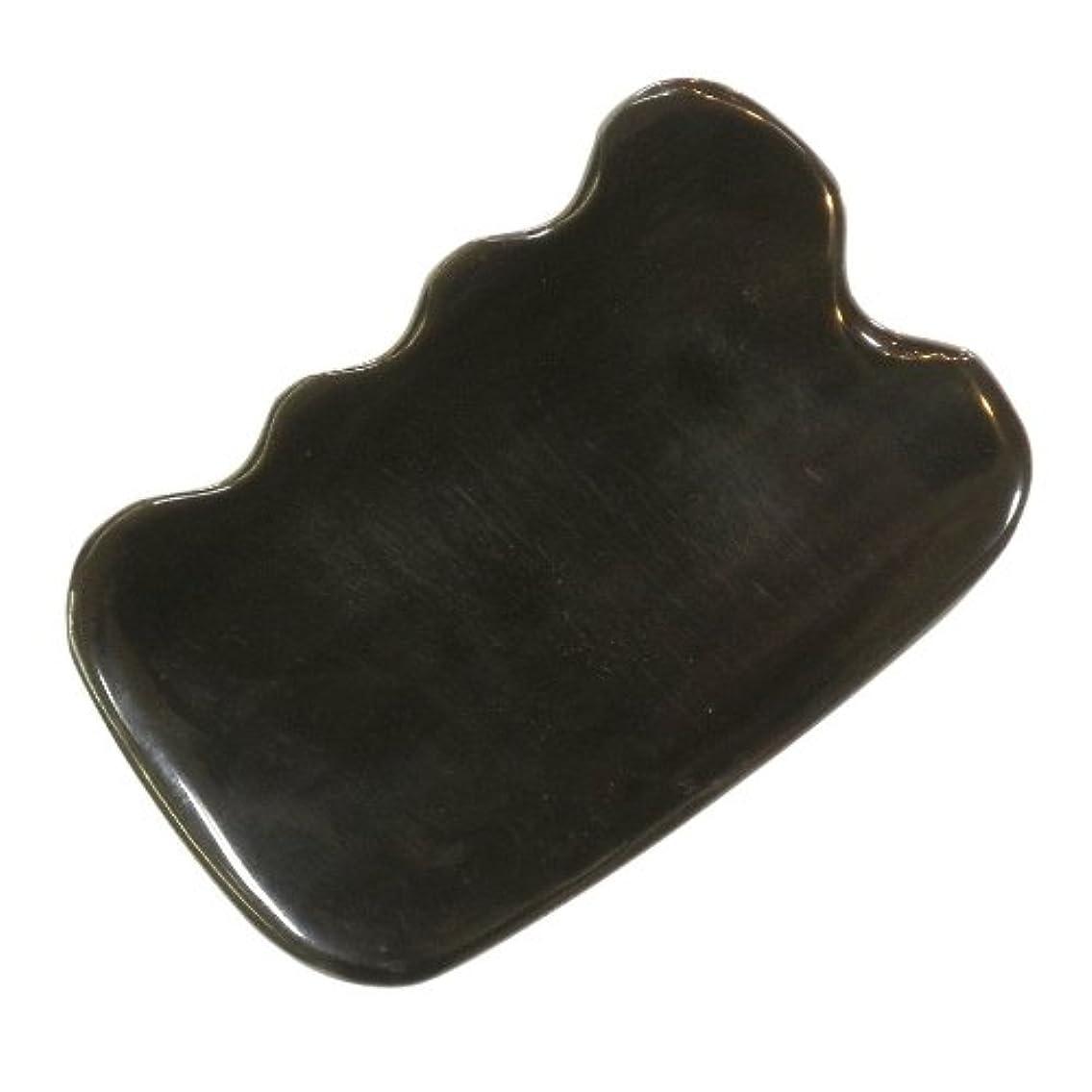 リファインまとめる禁止かっさ プレート 厚さが選べる ヤクの角(水牛の角) EHE272SP 四角波大 特級品 標準(6ミリ程度)