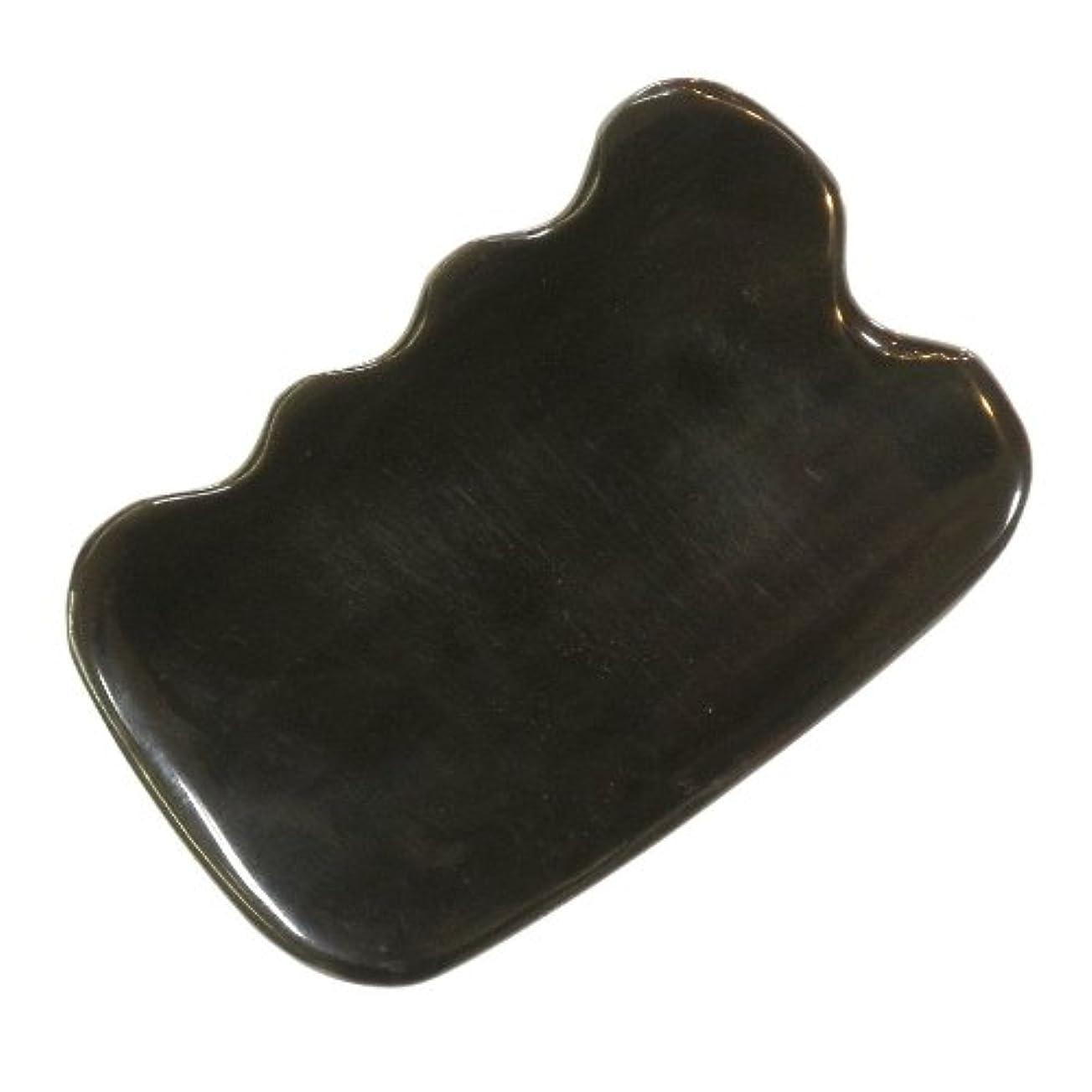フェザーキャンセル眠っているかっさ プレート 厚さが選べる ヤクの角(水牛の角) EHE272SP 四角波大 特級品 標準(6ミリ程度)