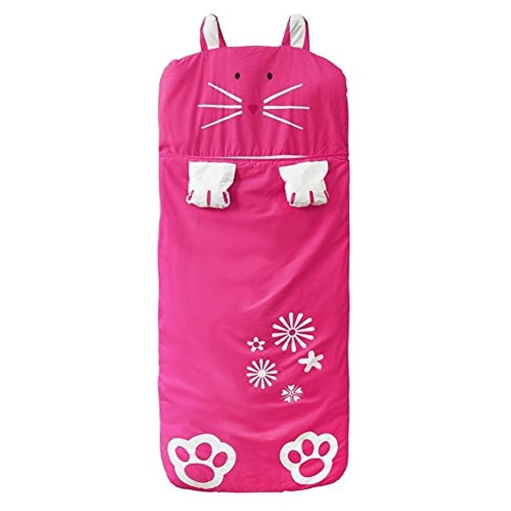 より平らな雪マウスUmora 子供用寝袋 シュラフ 封筒型 0~5歳 幼児 キッズ ベビー 蹴ることを防止 秋冬用 丸洗い スリーピングバッグ コットン100%(ローズレッド うさぎ)