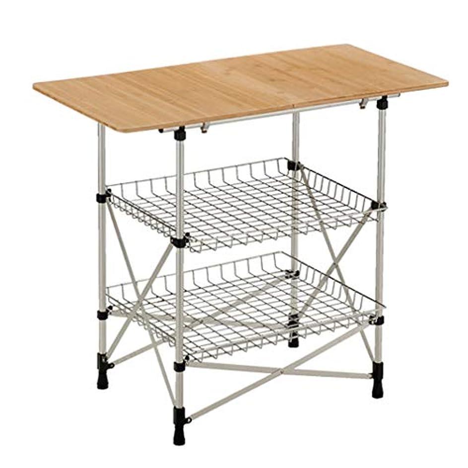 ケントスマート放棄する屋外折りたたみテーブル、3階建てキッチン収納テーブルウッドボード+ステンレス台形台所用品調味料ラック3個