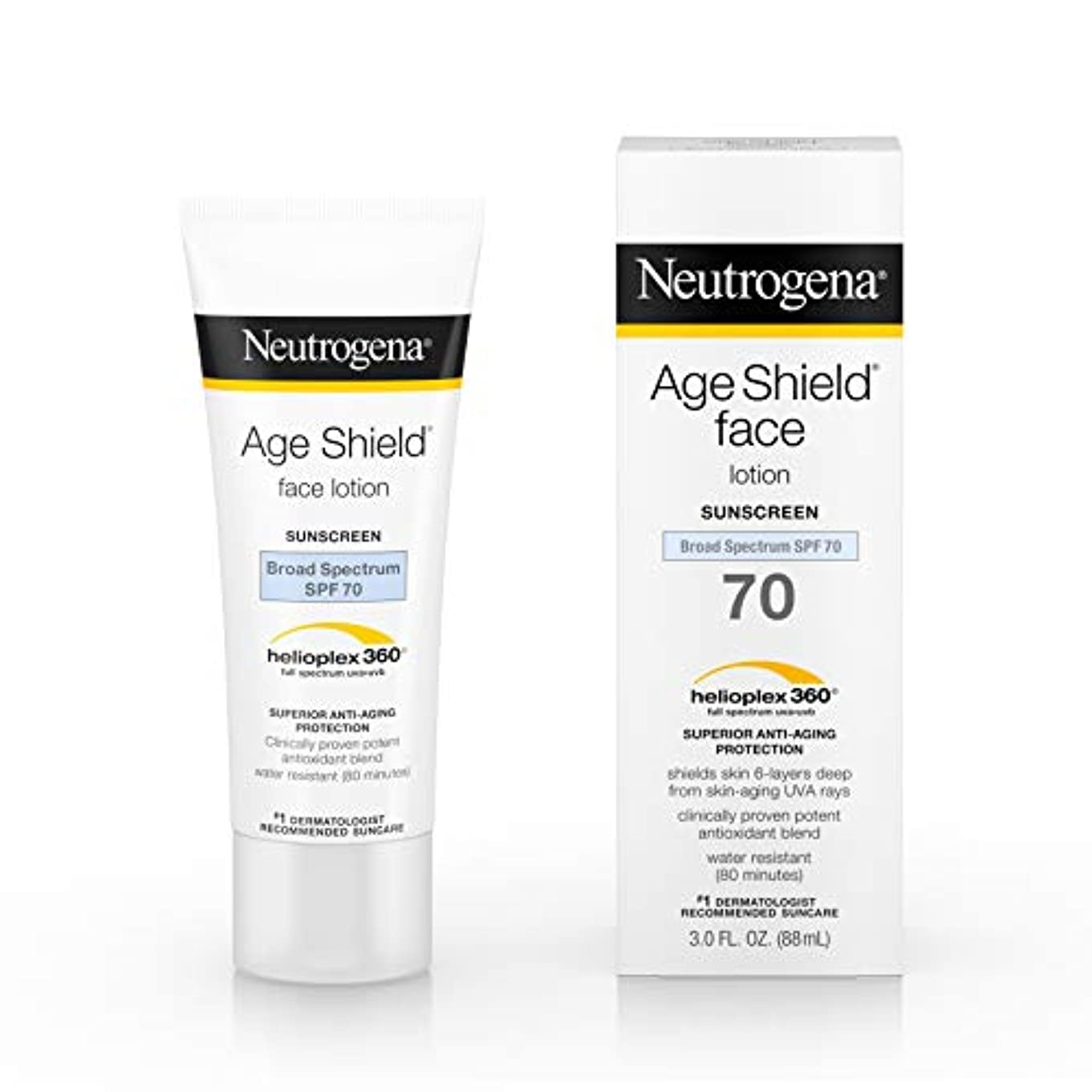 放棄する高度前書きNeutrogena Age Shield Anti-Oxidant Face Lotion Sunscreen Broad Spectrum SPF 70, 3 Fluid Ounce