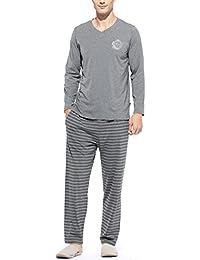 メンズパジャマ 長袖上下セット ストライプ ルームウェア 部屋着 便利服  綿製品吸汗速乾