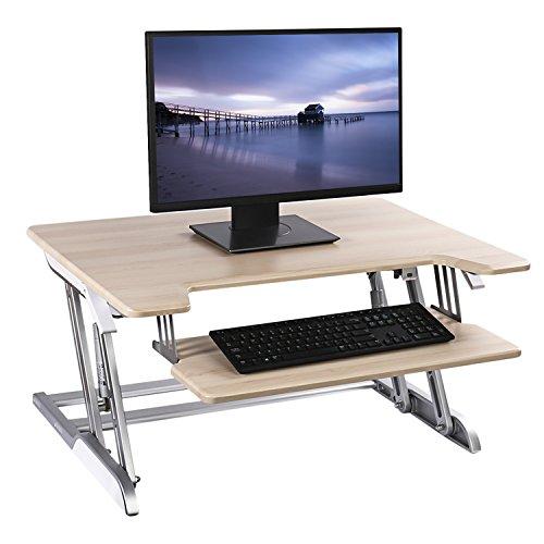 Dpower スタンディングデスク 高さ調整可能 昇降式 スタンドアップデスク キーボード台搭載 32インチ