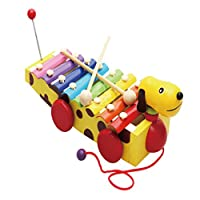 Homyl 木製 木琴 8-音符 おもちゃ 子供 知恵開発 楽器 子供 キッズ 赤ちゃん おもちゃ 早期教育 全6デザイン - イエロー・ドッグ