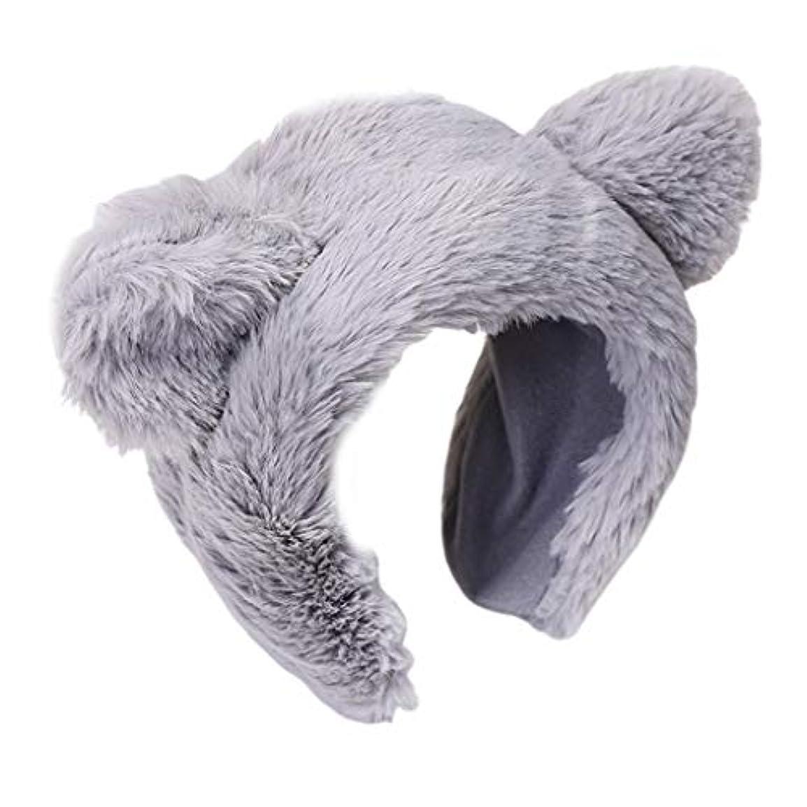 コテージ機関現実Sariyao 女性の女の子冬厚くふわふわぬいぐるみカチューシャかわいい甘い丸クマ耳ワイドヘアフープウォッシュフェイスコスプレパーティー帽子