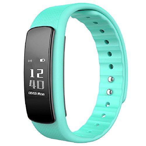 日本公式ライセンス取得商品日本語対応 PMJ iWOWNfit i6 HR ((アップデート対応版)) 活動量計 スマートブレスレット〔iPhone&Android対応〕/24時間自動測定・健康サポート・歩数計・心拍計・睡眠計・有機EL・IP67防水防塵・Bluetooth4.0/日本語アプリ管理・日本語ガイド・1年間保証書完備≪国内操作設定サポート付き≫(HR ライトブルー)