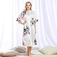 b49d4f32a8 Casual Sleepwear Peacock Robe Bathrobe Sexy Cardigan Simulation Silk  Pajamas Ladies Summer Large Size Home Service