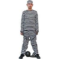 (Lulu LAB) 囚人服 コスチューム 男女共用 フリーサイズ 豪華5点セット(シャツ、ズボン、帽子、手錠、鉄球)