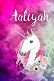 Aaliyah: Cute Unicorn Notebook Writing Journal for Girls,6x9 dimension|121pages,Personalized With Name,  Personalized Writing Journal,Notebook for Women and Girls, Personalized Notebook/Journal Gift