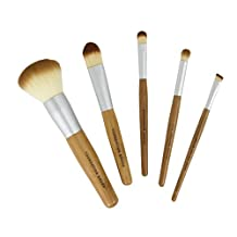 Bamboo Naturals Makeup Brushes, Natural Bamboo Handles, Includes Five Brushes: Powder Foundation Brush, Liquid Foundation Brush, Eyeshadow Brush, Smudge Brush, Angled Eyeliner Brush