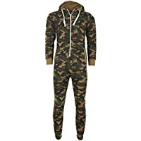 Janisramone Girls Boys New Kids Unisex Army Camouflage Hooded Onesie All in One Zip Up Fleece Jumpsuit Playsuit