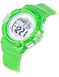 子供腕時計 キッズ腕時計 デジタル表示 アラーム 防水 ストップウオッチ スポーツ腕時計 グリーン