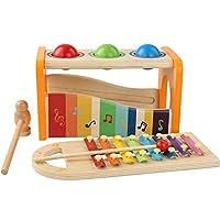 Rabugoo のゲーム 子供の幼児の女の子男の子のための明るい色の木の音楽的なドキドキのおもちゃ