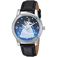 Disney Women's Cinderella Analog-Quartz Watch with Leather-Synthetic Strap, Black, 17.8 (Model: W002153)