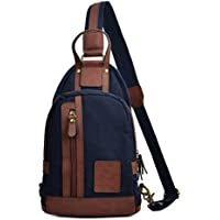 Rullar Mens Vintage Canvas Sling Bags Multipurpose Chest Shoulder Crossbody Messenger Business Backpack Travel Hiking School Casual Daypack Purse