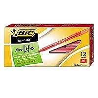 """"""" BIC ®ラウンドStic Xtra Precision & Xtra Lifeボールペン, 1mm、M、赤、12pk。-setの5"""