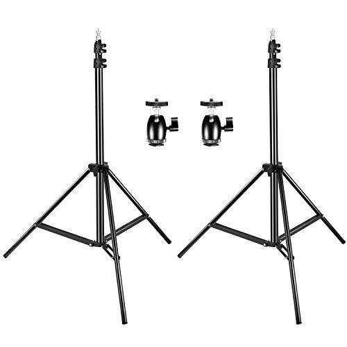 """Neewer 調整可能なライトスタンド 75""""/190cm「2個」 1/4""""ネジ穴付きの三脚ミニボールヘッドホットシューアダプター「2個」 HTC Vive、VR ビデオ、肖像画、製品撮影に対応"""