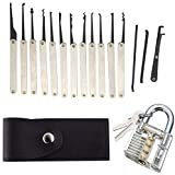 Lock Picking Kit with Practice Lock - Stainless Steel Multitool Practice Tool Lock Set with Padlock 15pcs