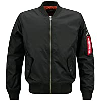 LANBAOSI Men's Ma-1 Flight Jacket Black Fashion Military Bomber Jackets