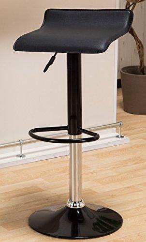 女性に人気 軽くて使いやすいカウンターチェア 「ビビッド」 座面レザー調 軽量バーチェア(重さ約5kg) 昇降式 脚部も同色デザインで可愛いチェア ブラック色