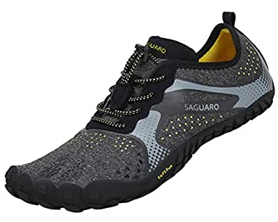 [SAGUARO] ベアフット ランニングシューズ ポータブル フィットネスシューズ 柔軟 超軽量 通気性(ブラック,22.5cm)