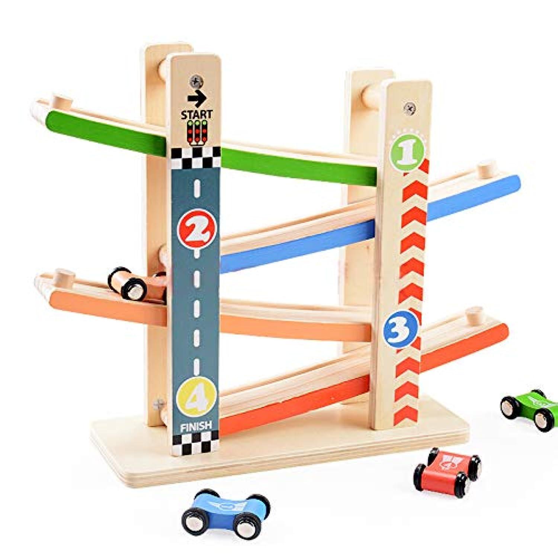 baobë くるくるスロープ 木製スロープ 転がし遊び 木のおもちゃ 車玩具 滑空車 4台セット ミニコースター 4つ軌道 駐車場付き 大人も子供も楽しめる知育玩具 ルーピング ビーズコースター スロープトイ