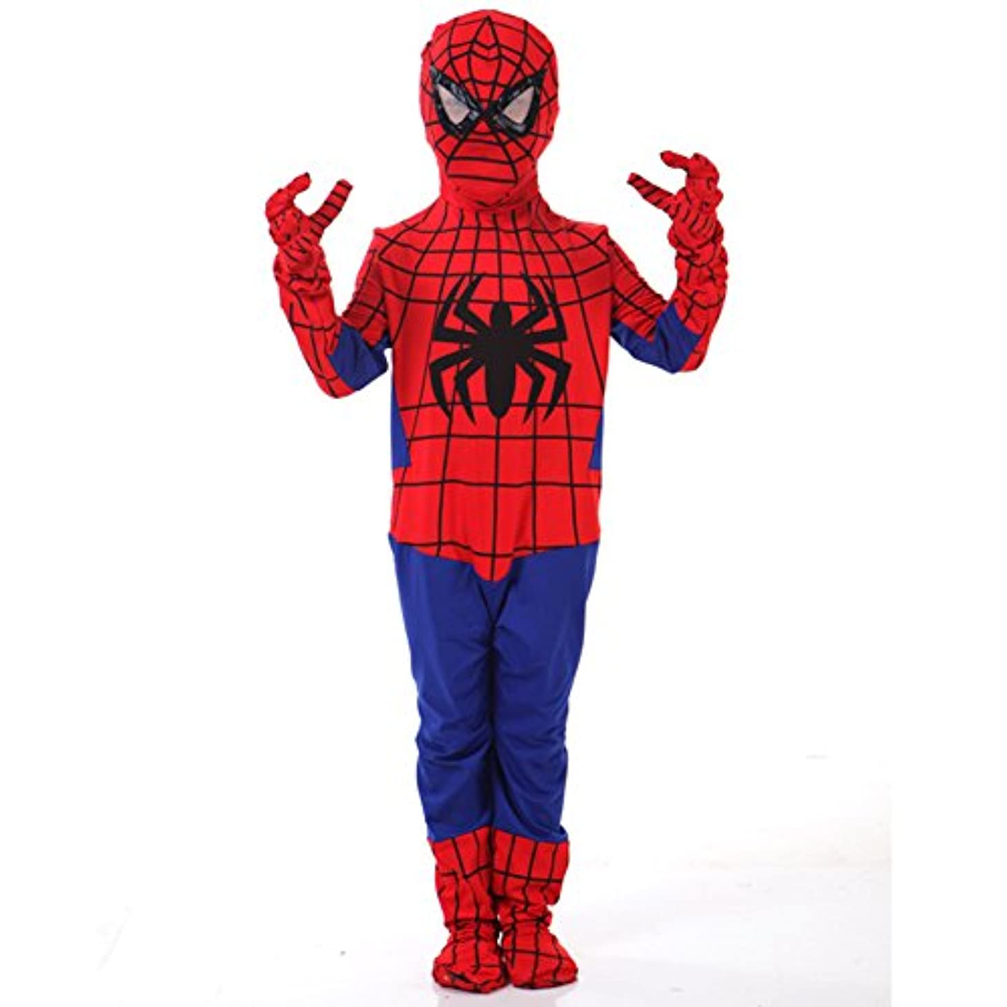 いたずら犠牲玉スパイダーマン 全身タイツ スパイダーマン コスプレ衣装 子供 大人 ハロウィン仮装 パーティー舞台演出 (子供L身長130-140cm)