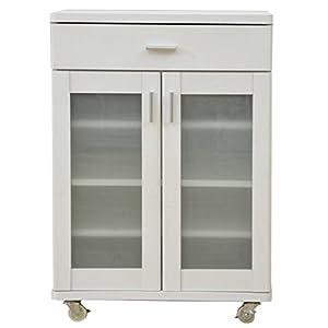 山善(YAMAZEN) ベリーベリーキッチン ミニカウンター(幅60) 食器棚タイプ ホワイト FEK-C8560GC(WH)(組立品)