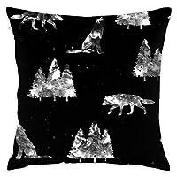 枕カラフルな素敵な漫画、Black_4575のオオカミ100%コットン、リビングルームの装飾、ホームソファー、オフィス、車。