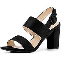 Allegra K Women's Open Toe Slingback High Block Heel Sandals