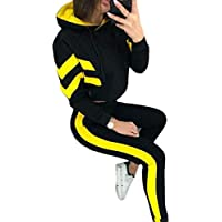 Macondoo Women Sexy Crop Top Sports Slim Hooded 2 Pieces Tracksuit Set