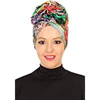 Bonnet for Women Instant Cotton Scarfs Rose Detail Head Wrap Muslim Turban Cap