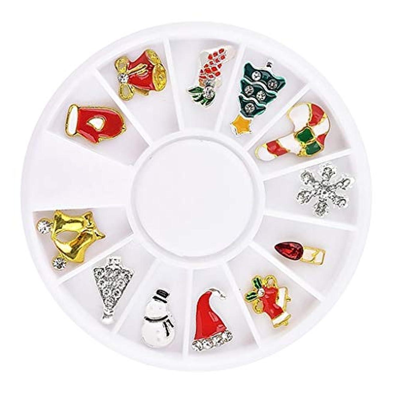 傑作熱心レンズCUTICATE ネイル用品 クリスマス風 ネイルアートステッカー 3Dネイルアート ネイルアートシール 12枚セット - #3