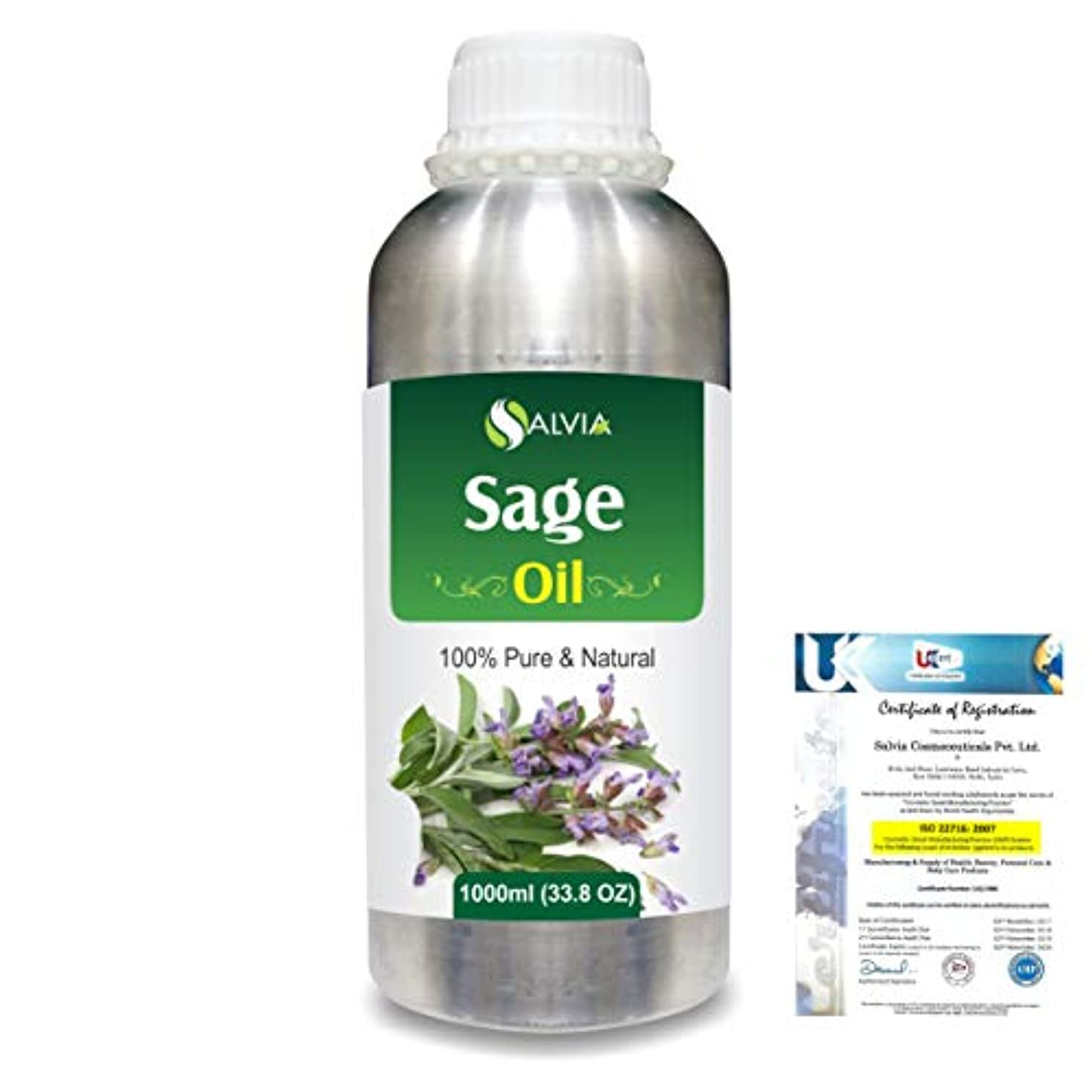 愛人ナース猟犬Sage (Salvia officinalis) 100% Natural Pure Essential Oil 1000ml/33.8fl.oz.