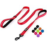 Primal Pet Gear Dog Leash 6ft Long - Traffic Padded Two Handle - Heavy Duty - Double Handles Lead for Control Safety Training - Leads for Large Dogs or Medium Dogs - Dual Handles Leashes (Red)